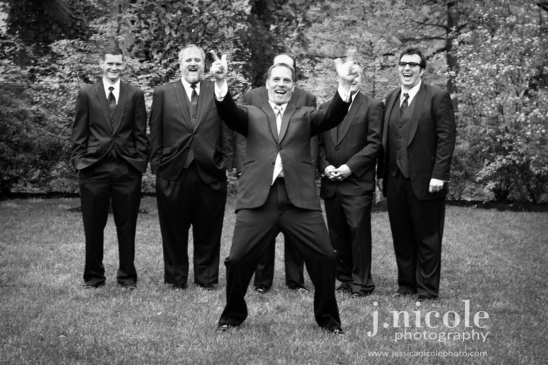 The groom clowning around.