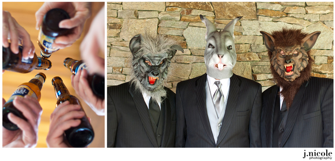 Beer, masks, and laughs.  Sums up the groomsmen.