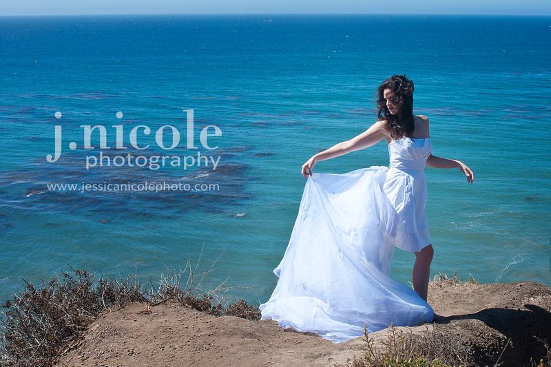 Dramatic bridal shot on the beach